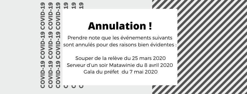 ANNULATION D'ÉVÉNEMENTS     MARS – AVRIL – MAI